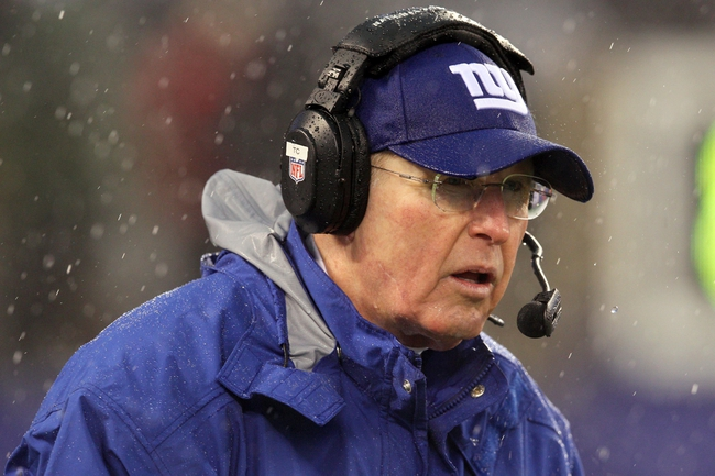 Dec 29, 2013; East Rutherford, NJ, USA; New York Giants head coach Tom Coughlin looks on from the sidelines during the third quarter of a game against the Washington Redskins at MetLife Stadium. The Giants defeated the Redskins 20-6. Mandatory Credit: Brad Penner-USA TODAY Sports