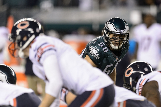 Dec 22, 2013; Philadelphia, PA, USA; Philadelphia Eagles linebacker Casey Matthews (50) watches Chicago Bears quarterback Josh McCown (12) during the fourth quarter at Lincoln Financial Field. The Eagles defeated the Bears 54-11. Mandatory Credit: Howard Smith-USA TODAY Sports