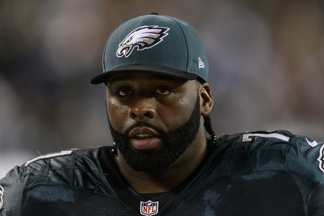 Dec 22, 2013; Philadelphia, PA, USA; Philadelphia Eagles offensive tackle Jason Peters (71) along the sidelines during the fourth quarter against the Chicago Bears at Lincoln Financial Field. The Eagles defeated the Bears 54-11. Mandatory Credit: Howard Smith-USA TODAY Sports