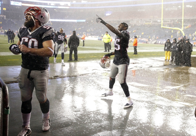 Dec 29, 2013; Foxborough, MA, USA; New England Patriots defensive end Chandler Jones (95) reacts with the crowd after the game against the Buffalo Bills at Gillette Stadium. The Patriots defeated the Bills 34-20. Mandatory Credit: David Butler II-USA TODAY Sports