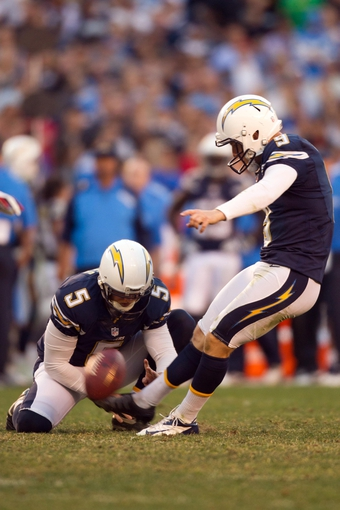 Dec 29, 2013; San Diego, CA, USA; San Diego Chargers kicker Nick Novak (9) and holder Mike Scifres (5) put in the game winning field goal during the Chargers 27-24 overtime win over the Kansas City Chiefs at Qualcomm Stadium. Mandatory Credit: Stan Liu-USA TODAY Sports