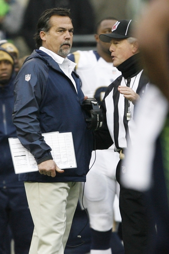 Dec 29, 2013; Seattle, WA, USA; St. Louis Rams head coach Jeff Fisher talks with an official against the Seattle Seahawks during the third quarter at CenturyLink Field. Mandatory Credit: Joe Nicholson-USA TODAY Sports