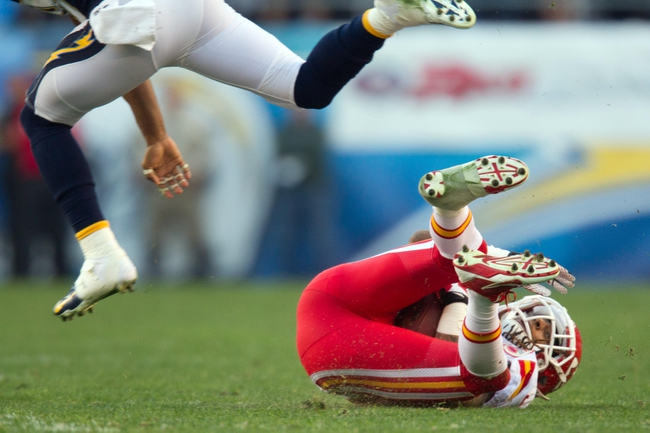 Dec 29, 2013; San Diego, CA, USA; (Editors Note: caption correction) Kansas City Chiefs wide receiver Dexter McCluster (22) catches the ball in the 2nd half during the Chiefs 27-24 overtime loss to the San Diego Chargers at Qualcomm Stadium. Mandatory Credit: Stan Liu-USA TODAY Sports