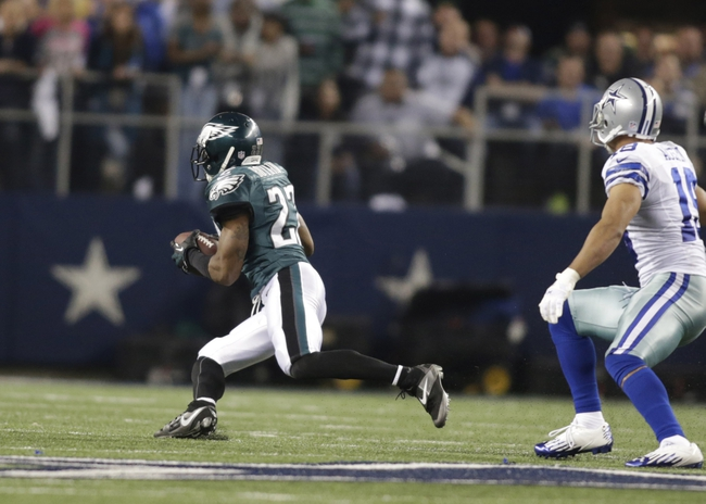 Dec 29, 2013; Arlington, TX, USA; Philadelphia Eagles cornerback Brandon Boykin (22) intercepts a pass in the fourth quarto against the Dallas Cowboys at AT&T Stadium. The Eagle beat the Cowboys 24-22. Mandatory Credit: Tim Heitman-USA TODAY Sports