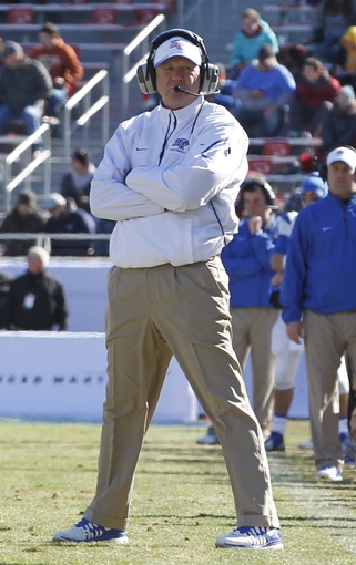 Dec 30, 2013; Fort Worth, TX, USA; Middle Tennessee Blue Raiders head coach Rick Stockstill on the field during the game against the Navy Midshipmen at Amon G. Carter Stadium.  Navy beat Middle Tennessee 24-6. Mandatory Credit: Tim Heitman-USA TODAY Sports