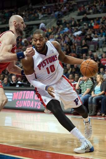 Dec 30, 2013; Auburn Hills, MI, USA; Detroit Pistons power forward Greg Monroe (10) drives to the basket against the Washington Wizards during the first quarter at The Palace of Auburn Hills. Mandatory Credit: Tim Fuller-USA TODAY Sports