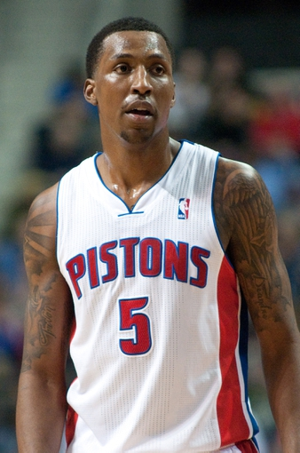 Dec 30, 2013; Auburn Hills, MI, USA; Detroit Pistons shooting guard Kentavious Caldwell-Pope (5) during the second quarter against the Washington Wizards at The Palace of Auburn Hills. Mandatory Credit: Tim Fuller-USA TODAY Sports