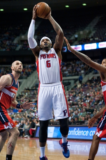 Dec 30, 2013; Auburn Hills, MI, USA; Detroit Pistons small forward Josh Smith (6) goes to the basket during the first quarter against the Washington Wizards at The Palace of Auburn Hills. Mandatory Credit: Tim Fuller-USA TODAY Sports
