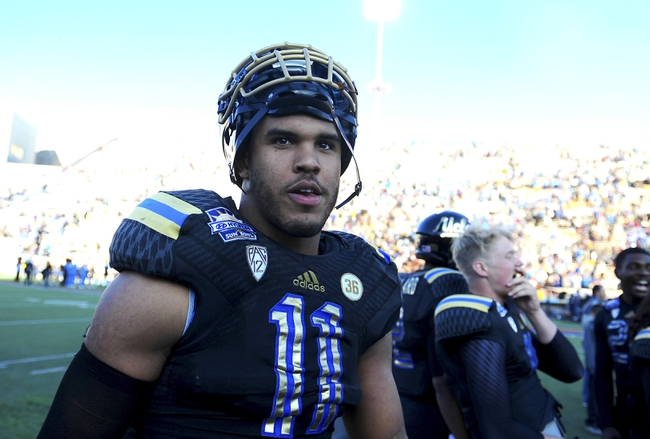 Dec 31, 2013; El Paso, TX, USA; UCLA Bruins linebacker Anthony Barr (11) walks off the field after winning the 2013 Sun Bowl at Sun Bowl Stadium. UCLA defeated Virginia Tech 42-12. Mandatory Credit: Andrew Weber-USA TODAY Sports