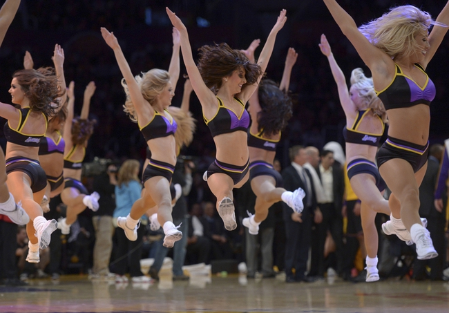 Dec 31, 2013; Los Angeles, CA, USA; Los Angeles Laker girls  perform during the game against the Milwaukee Bucks at Staples Center. Mandatory Credit: Kirby Lee-USA TODAY Sports