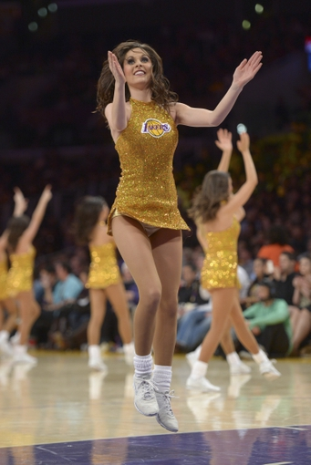 Dec 31, 2013; Los Angeles, CA, USA; Los Angeles Laker girls cheerleaders perform during the game against the Milwaukee Bucks at Staples Center. Mandatory Credit: Kirby Lee-USA TODAY Sports