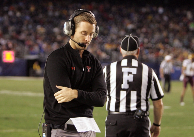 Dec 30, 2013; San Diego, CA, USA; Texas Tech Red Raiders head coach Kliff Kingsbury on the sidelines in the second half at Qualcomm Stadium. Mandatory Credit: Michael C. Johnson-USA TODAY Sports
