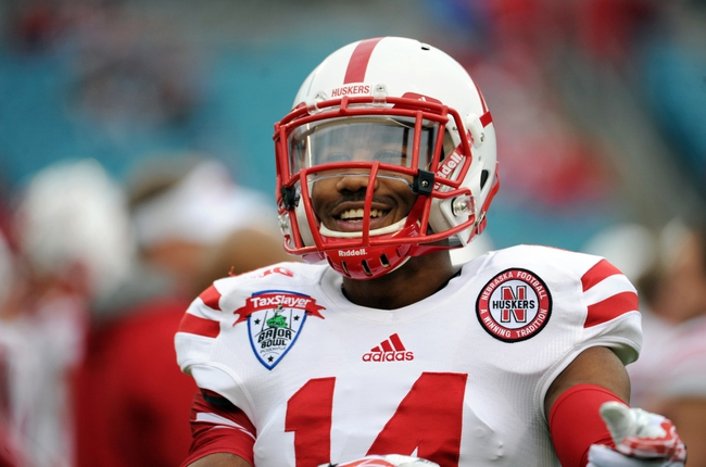 Dec 22, 2013; Jacksonville, FL, USA; Nebraska Cornhuskers cornerback Jonathan Rose (14) before the game against the Georgia Bulldogs at EverBank Field. Mandatory Credit: Melina Vastola-USA TODAY Sports