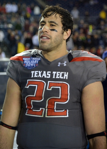 Dec 30, 2013; San Diego, CA, USA; Texas Tech Red Raiders tight end Jace Amaro (22) during the 2013 Holiday Bowl against the Arizona State Sun Devils at Qualcomm Stadium. Texas Tech defeated Arizona State 37-23. Mandatory Credit: Kirby Lee-USA TODAY Sports