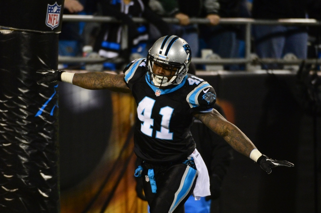 Dec 15, 2013; Charlotte, NC, USA; Carolina Panthers cornerback Captain Munnerlyn (41) reacts after returning an interception for a touchdown in the fourth quarter at Bank of America Stadium. Mandatory Credit: Bob Donnan-USA TODAY Sports