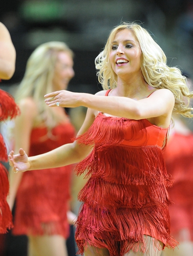 Jan 3, 2014; Washington, DC, USA; Washington Wizards dancer performs during the first half against the Toronto Raptors at Verizon Center. Mandatory Credit: Brad Mills-USA TODAY Sports
