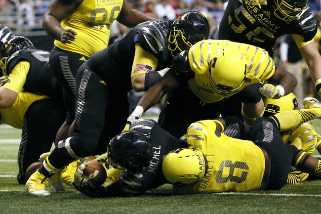 Jan 4, 2014; San Antonio, TX, USA; East running back Sony Michel (1) dives in for a touchdown during U.S. Army All-American Bowl high school football game at the Alamodome. Mandatory Credit: Soobum Im-USA TODAY Sports