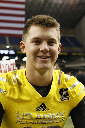 Jan 4, 2014; San Antonio, TX, USA; West quarterback Kyle Allen (10) after the U.S. Army All-American Bowl high school football game at the Alamodome. The West won 28-6. Mandatory Credit: Soobum Im-USA TODAY Sports