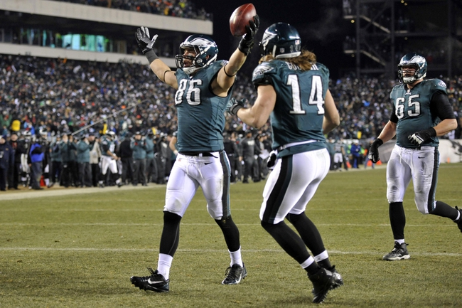 Jan 4, 2014; Philadelphia, PA, USA; Philadelphia Eagles tight end Zach Ertz (86) celebrates a touchdown against the New Orleans Saints during the second half of the 2013 NFC wild card playoff football game at Lincoln Financial Field. Mandatory Credit: Joe Camporeale-USA TODAY Sports