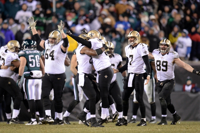 Jan 4, 2014; Philadelphia, PA, USA; New Orleans Saints kicker Shayne Graham (3) celebrates the game-winning field goal against the Philadelphia Eagles in the fourth quarter of the 2013 NFC wild card playoff football game at Lincoln Financial Field. Mandatory Credit: Joe Camporeale-USA TODAY Sports