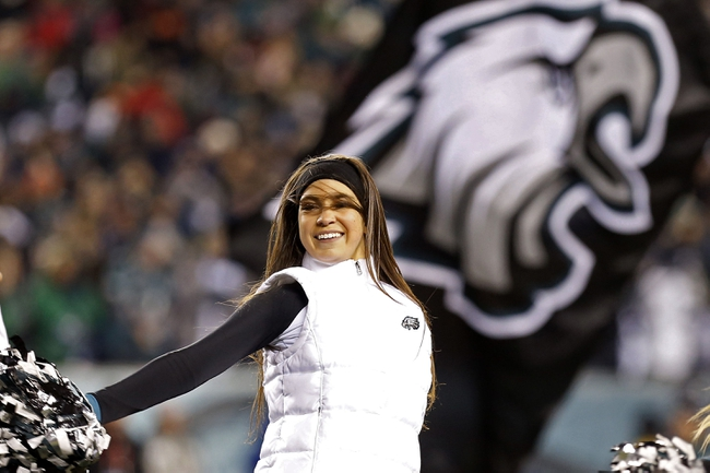 Jan 4, 2014; Philadelphia, PA, USA; A Philadelphia Eagles cheerleader dances on the field during a stoppage in play against the New Orleans Saints in the 2013 NFC wild card playoff football game at Lincoln Financial Field. Mandatory Credit: Geoff Burke-USA TODAY Sports