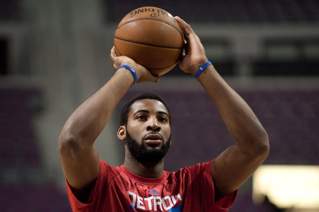 Jan 5, 2014; Auburn Hills, MI, USA; Detroit Pistons center Andre Drummond warms up prior to the game against the Memphis Grizzlies at The Palace of Auburn Hills. Mandatory Credit: Tim Fuller-USA TODAY Sports