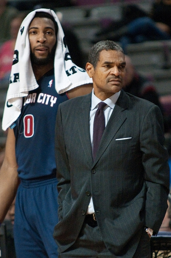 Jan 5, 2014; Auburn Hills, MI, USA; Detroit Pistons head coach Maurice Cheeks and center Andre Drummond (0) stand on the sidelines during the second quarter against the Memphis Grizzlies at The Palace of Auburn Hills. Mandatory Credit: Tim Fuller-USA TODAY Sports