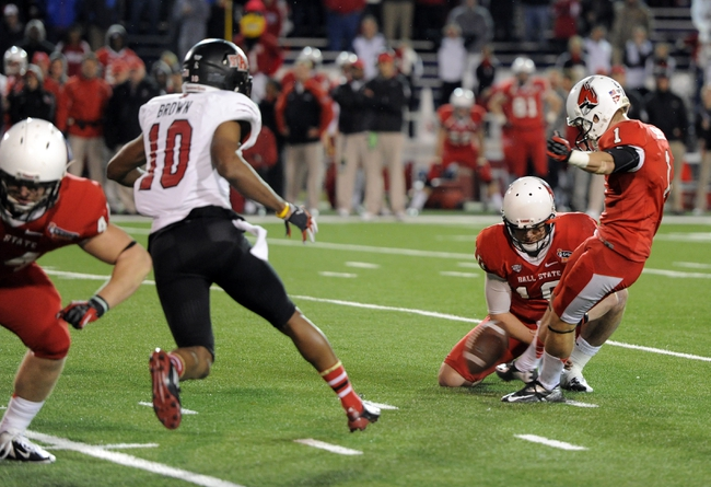Jan 5, 2014; Mobile, AL, USA;  Ball State Cardinals kicker Scott Secor (1) has his game tying field goal attempt blocked during the final seconds during the fourth quarter at Ladd-Peebles Stadium. Arkansas State Red Wolves defeated the Ball State Cardinals 23-20. Mandatory Credit: John David Mercer-USA TODAY Sports