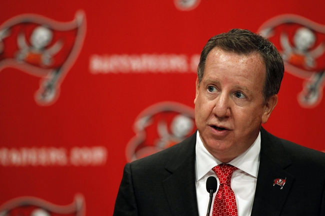 Jan 6, 2014; Tampa, FL, USA; Tampa Bay Buccaneers owner Bryan Glazer introduces new head coach Lovie Smith during a press conference at One Buccaneer Place. Mandatory Credit: Kim Klement-USA TODAY Sports