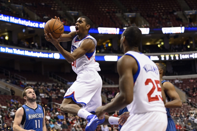 Jan 6, 2014; Philadelphia, PA, USA; Philadelphia 76ers forward Hollis Thompson (31) shoots during the fourth quarter against the Minnesota Timberwolves at the Wells Fargo Center. The Timberwolves defeated the Sixers 126-95. Mandatory Credit: Howard Smith-USA TODAY Sports
