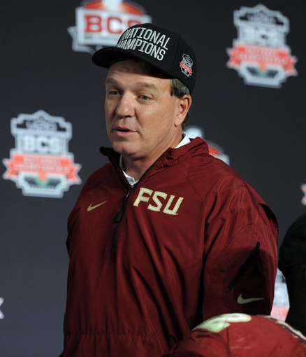 Jan 6, 2014; Pasadena, CA, USA; Florida State Seminoles head coach Jimbo Fisher at a press conference after the 2014 BCS National Championship game against the Auburn Tigers at the Rose Bowl.  Mandatory Credit: Kirby Lee-USA TODAY Sports