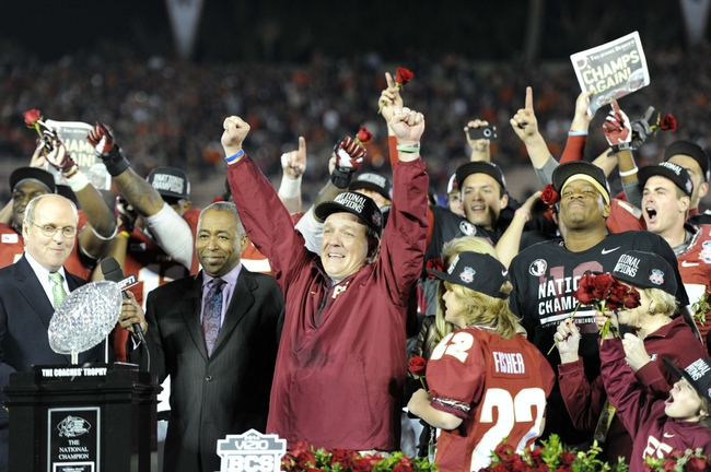 Jan 6, 2014; Pasadena, CA, USA; Florida State Seminoles head coach Jimbo Fisher (middle) celebrates after the 2014 BCS National Championship game against the Auburn Tigers at the Rose Bowl.  Mandatory Credit: Kirby Lee-USA TODAY Sports