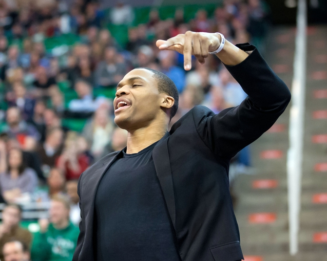 Jan 7, 2014; Salt Lake City, UT, USA; Oklahoma City Thunder point guard Russell Westbrook (0) reacts during the first half against the Utah Jazz at EnergySolutions Arena. Mandatory Credit: Russ Isabella-USA TODAY Sports