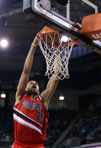 Jan 7, 2014; Sacramento, CA, USA; Portland Trail Blazers small forward Nicolas Batum (88) dunks the ball against the Sacramento Kings during the second quarter at Sleep Train Arena. Mandatory Credit: Kelley L Cox-USA TODAY Sports