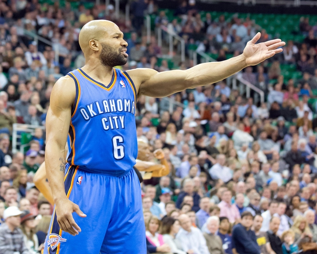 Jan 7, 2014; Salt Lake City, UT, USA; Oklahoma City Thunder point guard Derek Fisher (6) reacts to a call during the second half against the Utah Jazz at EnergySolutions Arena. The Jazz won 112-101. Mandatory Credit: Russ Isabella-USA TODAY Sports
