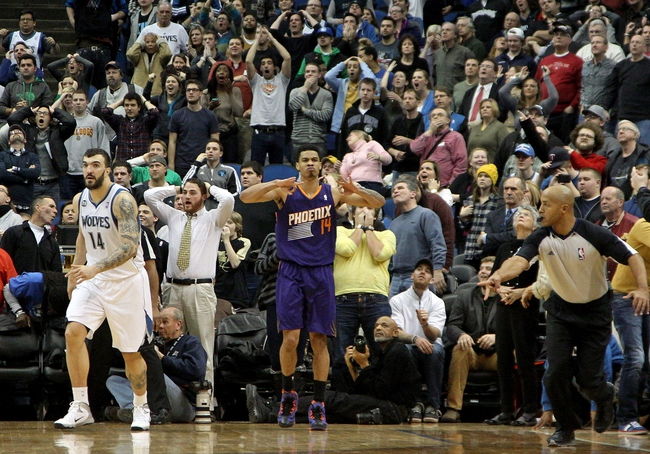 Jan 8, 2014; Minneapolis, MN, USA; Phoenix Suns guard Gerald Green (14) celebrates during the fourth quarter against the Minnesota Timberwolves at Target Center. The Suns defeated the Timberwolves 104-103. Mandatory Credit: Brace Hemmelgarn-USA TODAY Sports