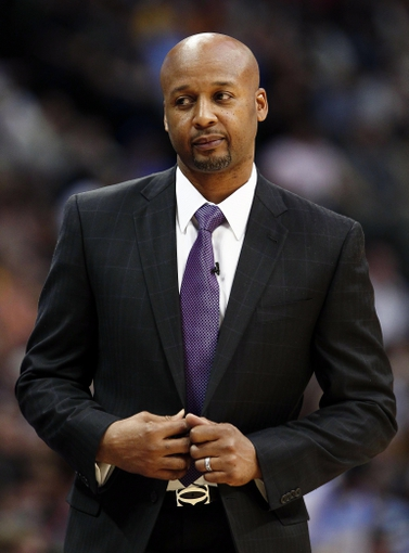 Jan 9, 2014; Denver, CO, USA; Denver Nuggets head coach Brian Shaw in the first quarter against the Oklahoma City Thunder at the Pepsi Center. The Nuggets won 101-88. Mandatory Credit: Isaiah J. Downing-USA TODAY Sports
