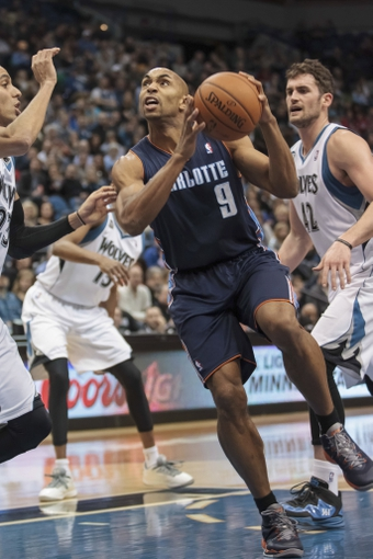 Jan 10, 2014; Minneapolis, MN, USA; Charlotte Bobcats guard Gerald Henderson (9) shoots in the first quarter against the Minnesota Timberwolves at Target Center. Mandatory Credit: Brad Rempel-USA TODAY Sports