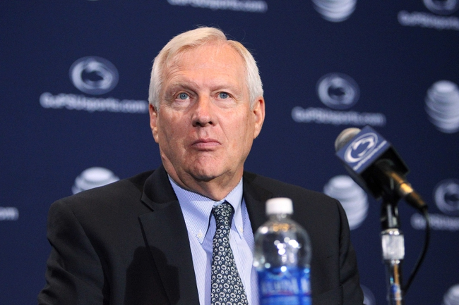Jan 11, 2014; State College, PA, USA; Penn State University President Rodney Erickson looks on as James Franklin is announced as the Penn State Nittany Lions new head coach during a press conference at Beaver Stadium. Mandatory Credit: Matthew O'Haren-USA TODAY Sports