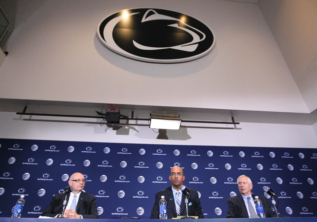 Jan 11, 2014; State College, PA, USA; Penn State University Athletic Director David Joyner (left) James Franklin (center) and Penn State University President Rodney Erickson (right) answer questions from the media as James Franklin is announced as the Penn State Nittany Lions new head coach during a press conference at Beaver Stadium. Mandatory Credit: Matthew O'Haren-USA TODAY Sports