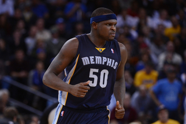 November 20, 2013; Oakland, CA, USA; Memphis Grizzlies power forward Zach Randolph (50) looks on during overtime against the Golden State Warriors at Oracle Arena. The Grizzlies defeated the Warriors 88-81 in overtime. Mandatory Credit: Kyle Terada-USA TODAY Sports