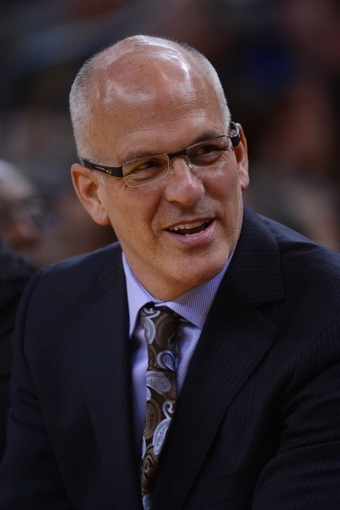 November 23, 2013; Oakland, CA, USA; Portland Trail Blazers assistant coach Jay Triano looks on during the fourth quarter against the Golden State Warriors at Oracle Arena. The Trail Blazers defeated the Warriors 113-101. Mandatory Credit: Kyle Terada-USA TODAY Sports