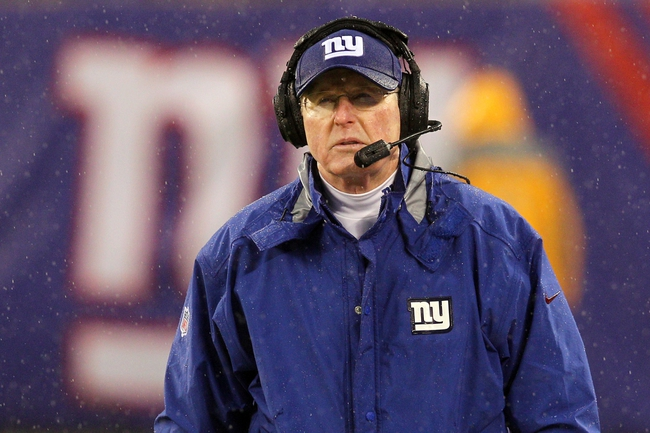Dec 29, 2013; East Rutherford, NJ, USA; New York Giants head coach Tom Coughlin coaches against the Washington Redskins during a game at MetLife Stadium. The Giants defeated the Redskins 20-6. Mandatory Credit: Brad Penner-USA TODAY Sports