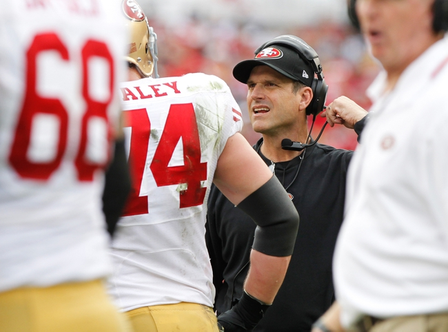 Dec 15, 2013; Tampa, FL, USA; San Francisco 49ers head coach Jim Harbaugh against the Tampa Bay Buccaneers during the second half at Raymond James Stadium. San Francisco 49ers defeated the Tampa Bay Buccaneers 33-14. Mandatory Credit: Kim Klement-USA TODAY Sports