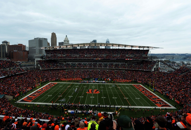 Jan 5, 2014; Cincinnati, OH, USA; General view of Paul Brown Stadium and downtown Cincinnati skyline during the the 2013 AFC wild card playoff football game between the San Diego Chargers and the Cincinnati Bengals. Mandatory Credit: Kirby Lee-USA TODAY Sports