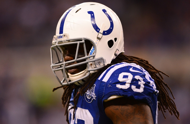 Jan 4, 2014; Indianapolis, IN, USA; Indianapolis Colts outside linebacker Erik Walden (93) during the 2013 AFC wild card playoff football game against the Kansas City Chiefs at Lucas Oil Stadium. Mandatory Credit: Andrew Weber-USA TODAY Sports