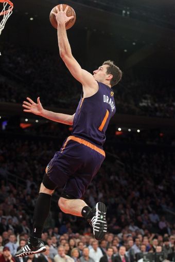 Jan 13, 2014; New York, NY, USA; Phoenix Suns shooting guard Goran Dragic (1) drives to the basket against the New York Knicks during the second quarter of a game at Madison Square Garden. Mandatory Credit: Brad Penner-USA TODAY Sports