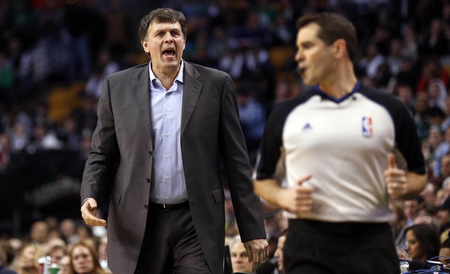 Jan 13, 2014; Boston, MA, USA; Houston Rockets head coach Kevin McHale talks with a referee during the first quarter of their 104-92 win over the Boston Celtics at TD Garden. Mandatory Credit: Winslow Townson-USA TODAY Sports