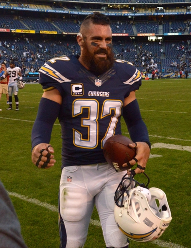 Dec 22, 2013; San Diego, CA, USA; San Diego Chargers safety Eric Weddle (32) reacts after the game against the Oakland Raiders at Qualcomm Stadium. The Chargers won 26-13.Mandatory Credit: Kirby Lee-USA TODAY Sports