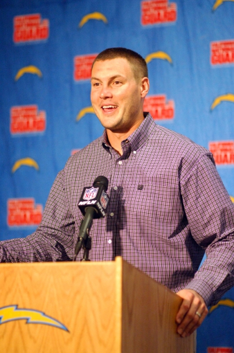 Dec 22, 2013; San Diego, CA, USA; San Diego Chargers quarterback Philip Rivers at press conference after the game against the Oakland Raiders at Qualcomm Stadium. The Chargers won 26-13.Mandatory Credit: Kirby Lee-USA TODAY Sports